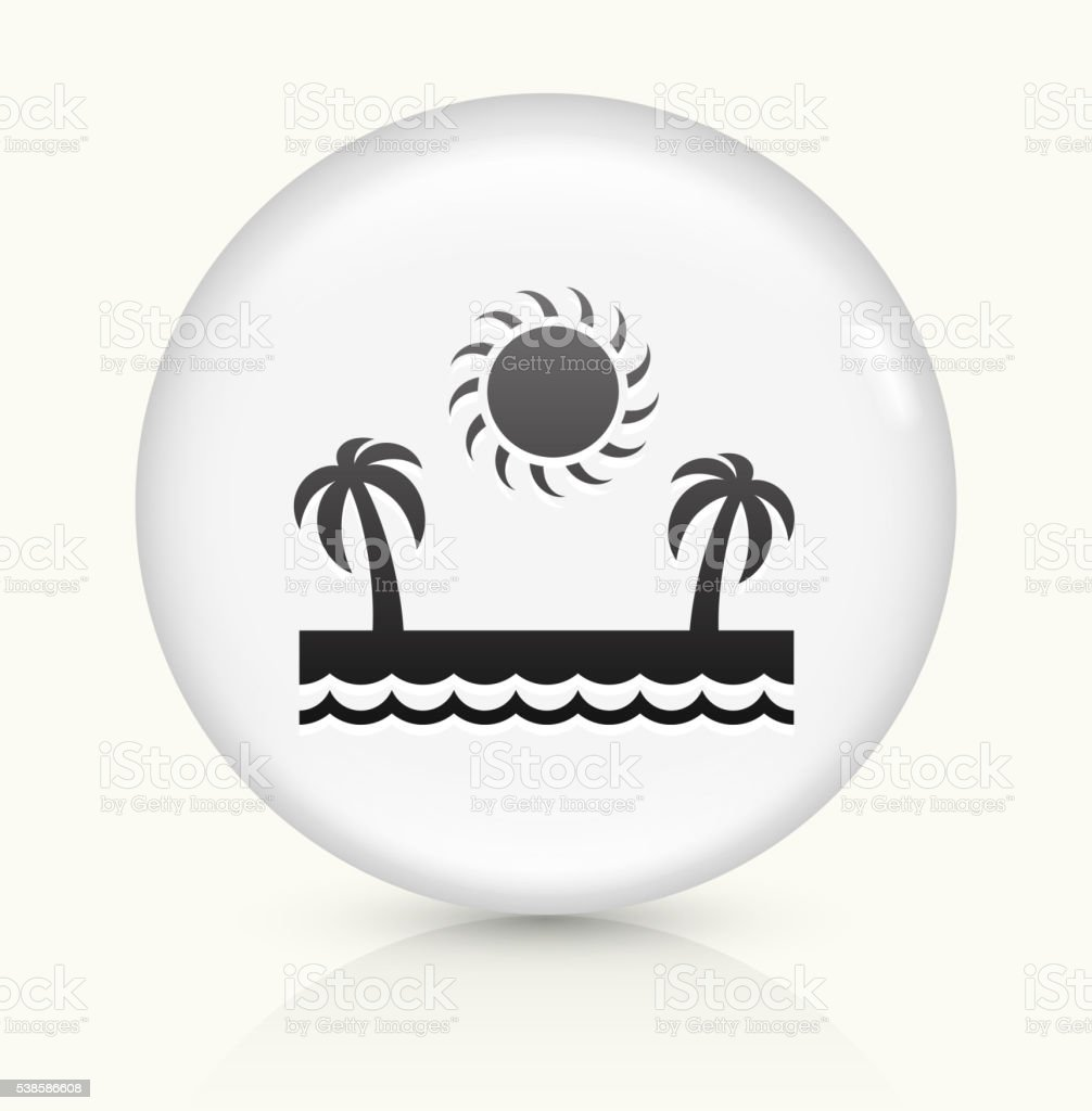 Vacation Paradise icon on white round vector button vector art illustration