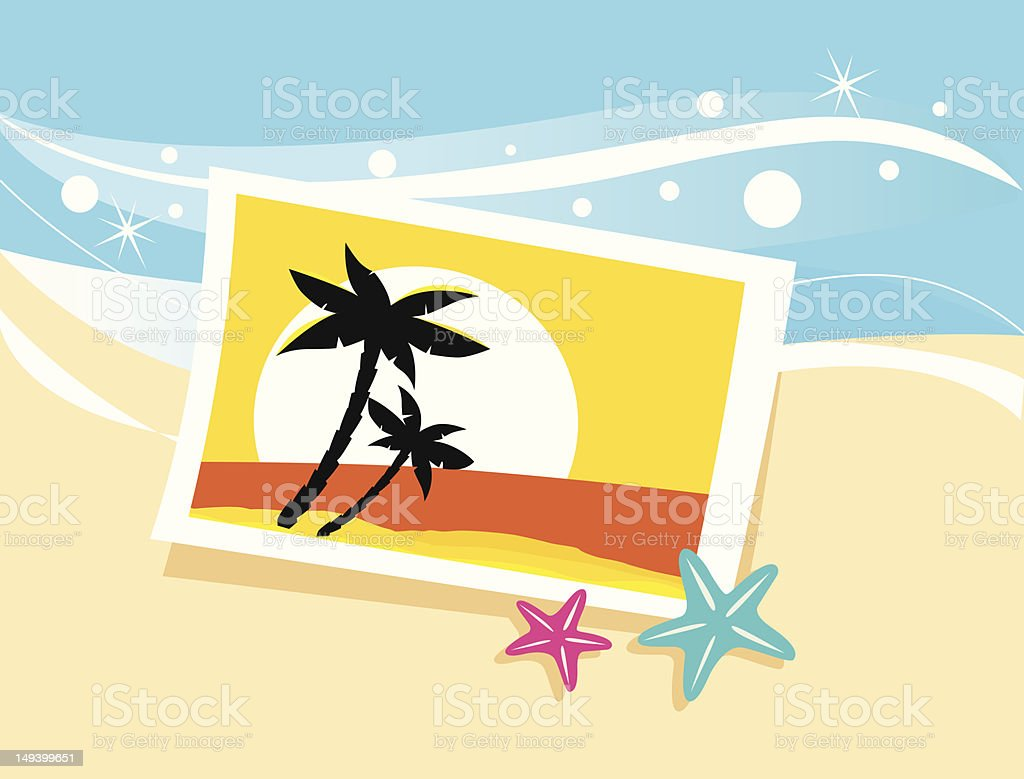 Vacation photo with tropical palms and sunset on the beach royalty-free stock photo