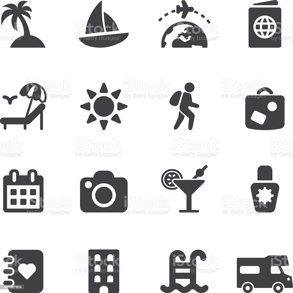 Vacation Silhouette Icons | EPS10 vector art illustration