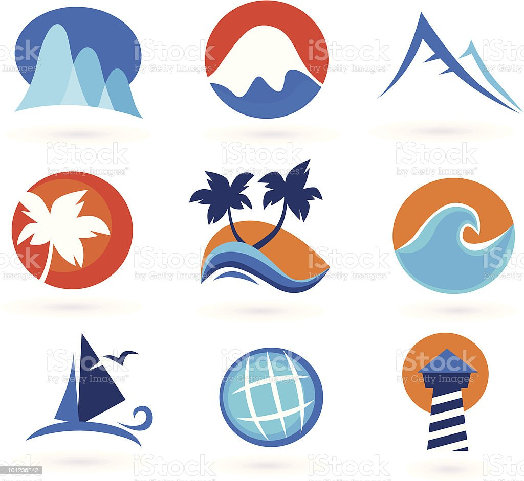 Vacation, travel and holiday summer icons (red, orange, blue) royalty-free stock vector art