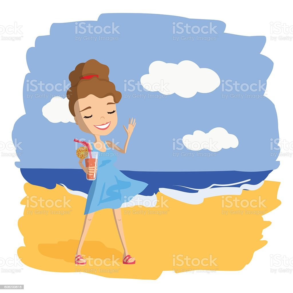 Vacation Trip Illustration with a Cute Girl vector art illustration
