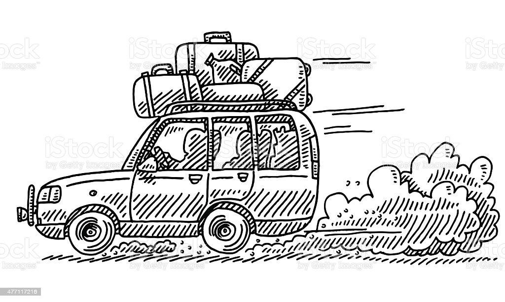 SUV Vacation Trip On Gravel Road Drawing vector art illustration