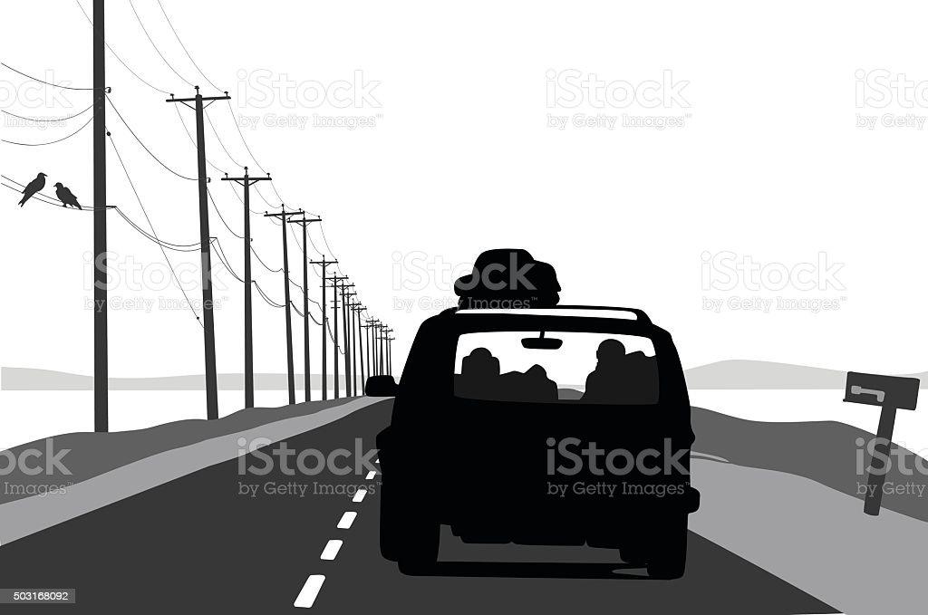 Vacation Vehicle On Scenic Road vector art illustration