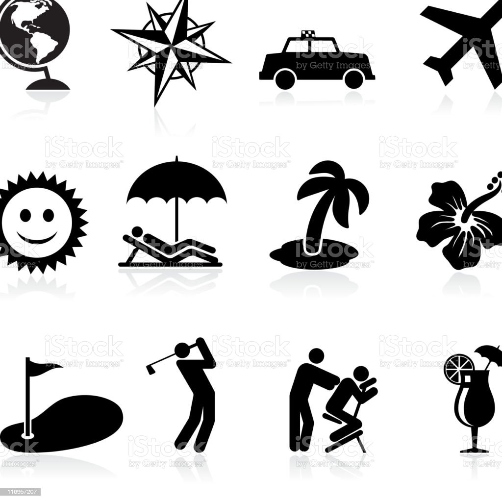 vacations and travel black & white vector icon set royalty-free stock vector art