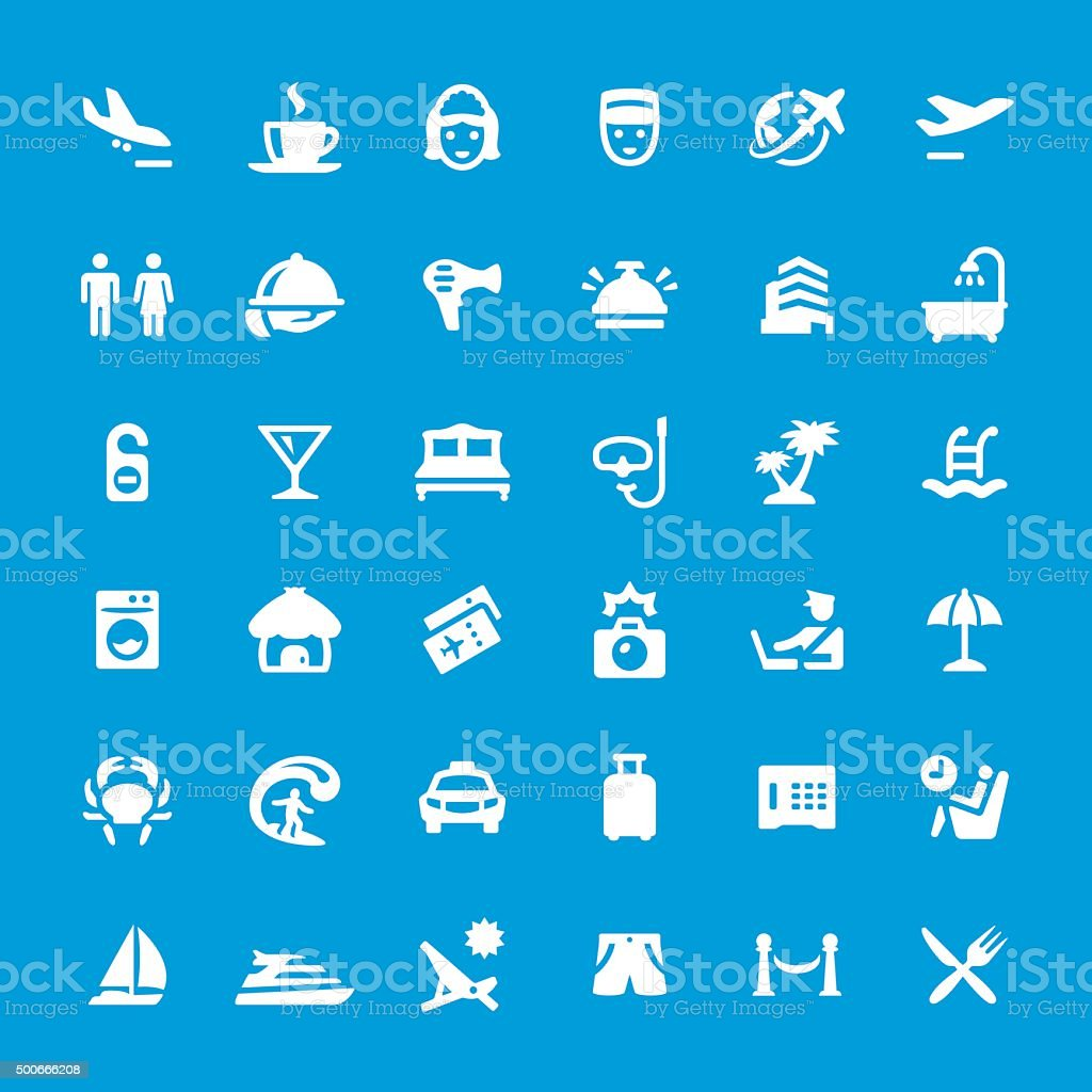 Vacations and Travel vector icons set vector art illustration