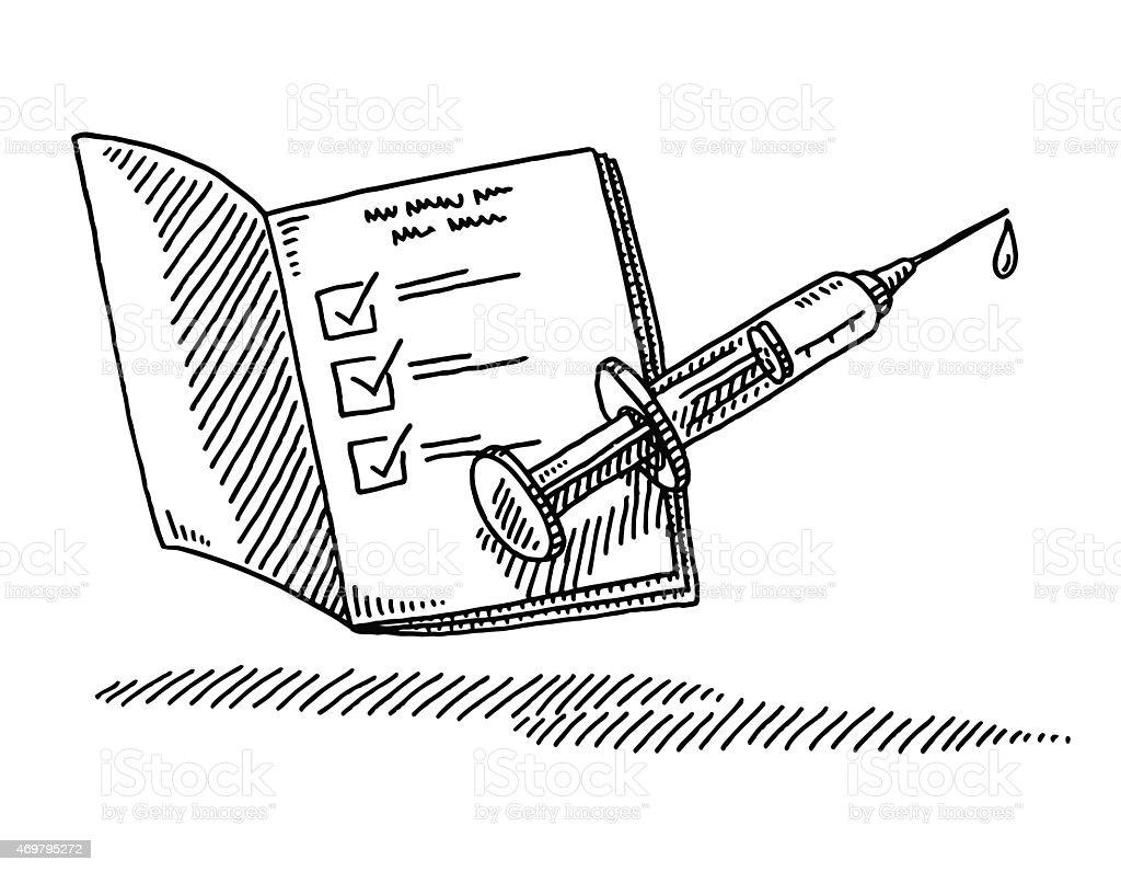 Vaccination Passport Syringe Drawing vector art illustration