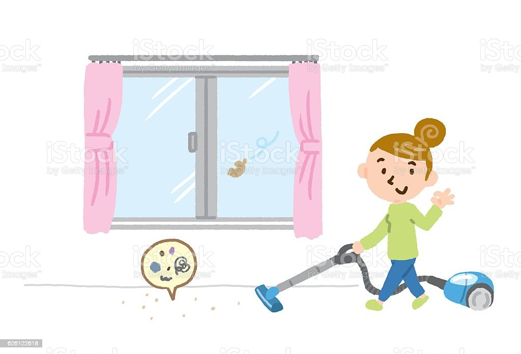 vacuum cleaner window vector art illustration