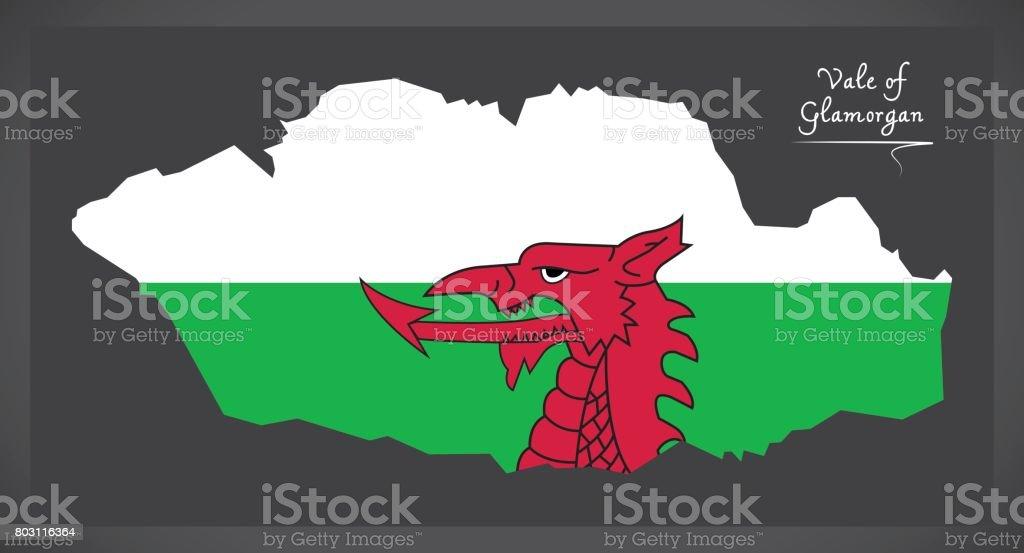 Vale of Glamorgan Wales map with Welsh national flag illustration vector art illustration