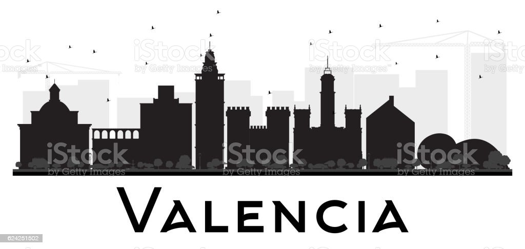 Valencia City skyline black and white silhouette. vector art illustration
