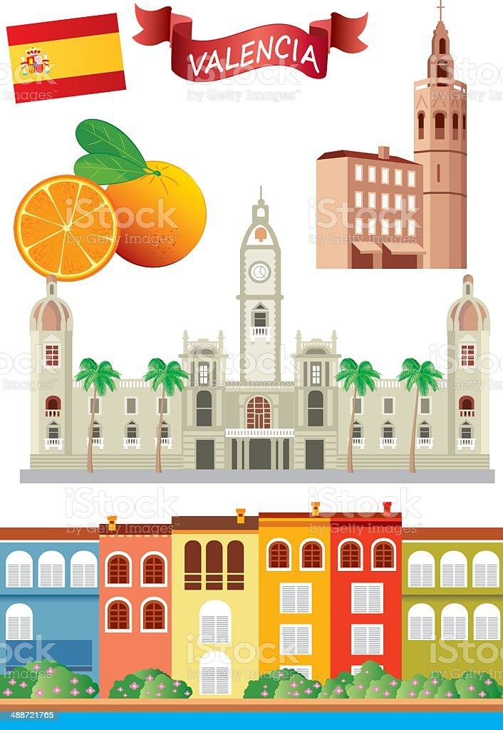 Valencia Symbols vector art illustration