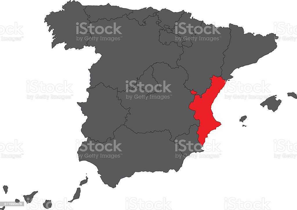 Valencian Community red map on gray Spain map vector vector art illustration