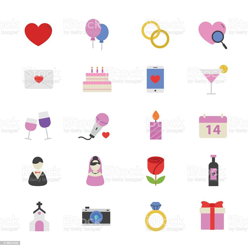 Valentine and Love Wedding Flat Color Icons vector art illustration