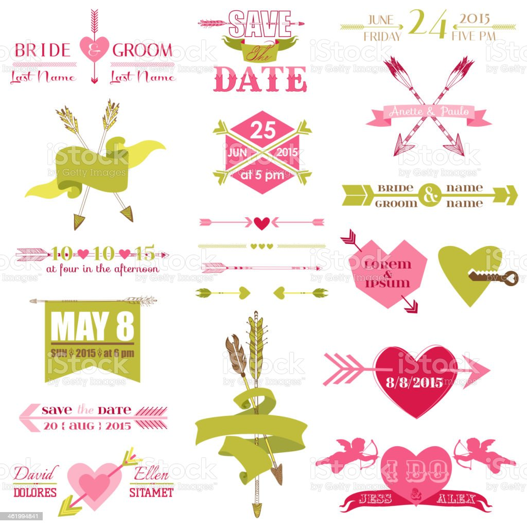 Valentine and Wedding Graphic Set royalty-free stock vector art