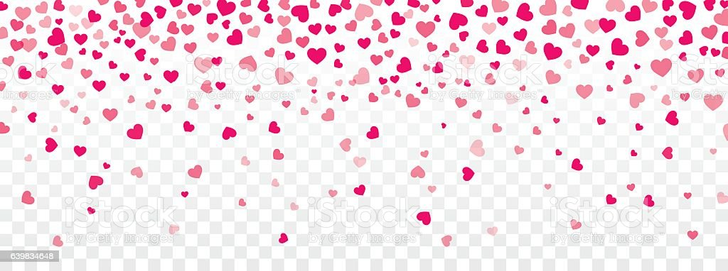 Valentine background with hearts falling on transparent vector art illustration