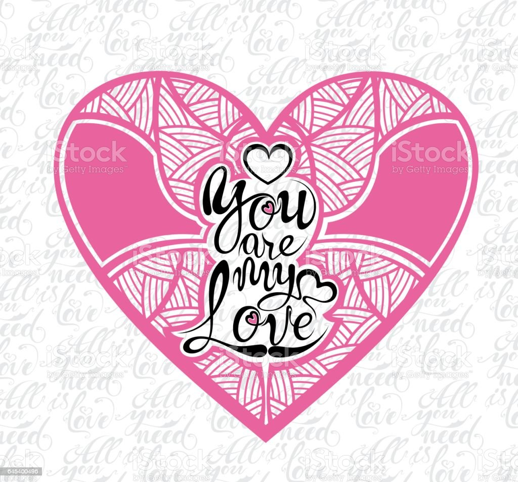 Valentine Banner with love phrase in heart vector art illustration