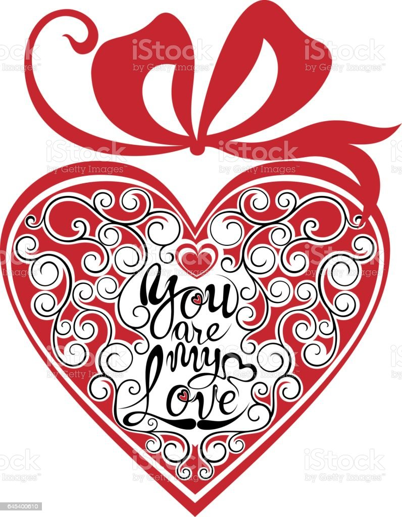 Valentine Banner with love phrase in heart vector art illustration