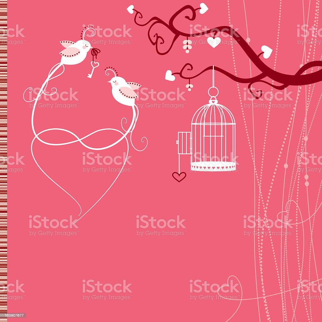 Valentine Birds and Birdcage royalty-free stock vector art