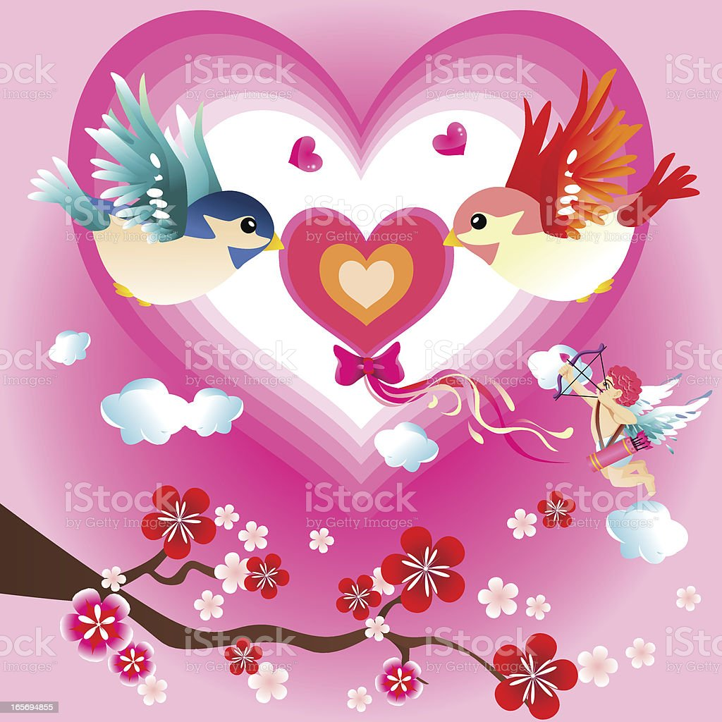 Valentine birds royalty-free stock vector art
