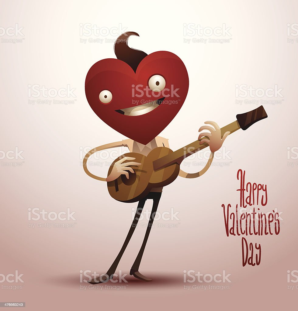 Valentine boy with a guitar royalty-free stock vector art