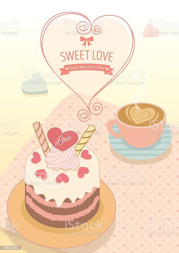 valentine cafe vector art illustration