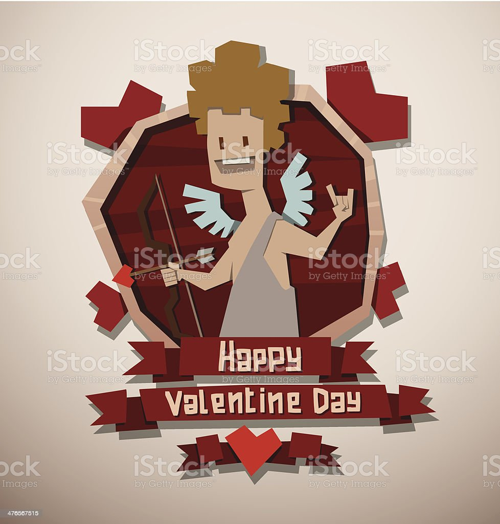 Valentine card paper angel with a bow royalty-free stock vector art