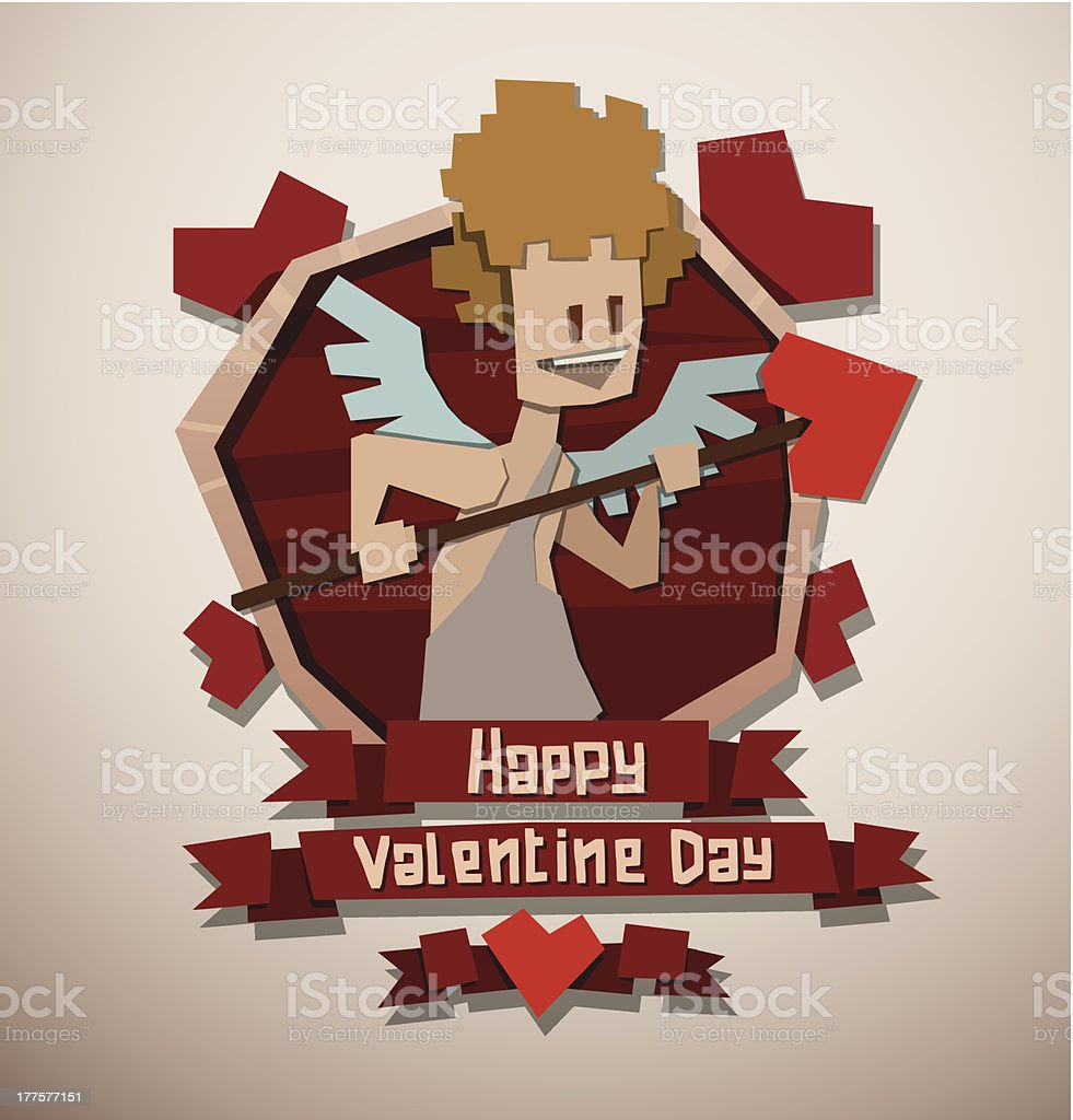 Valentine card paper angel with a spear royalty-free stock vector art