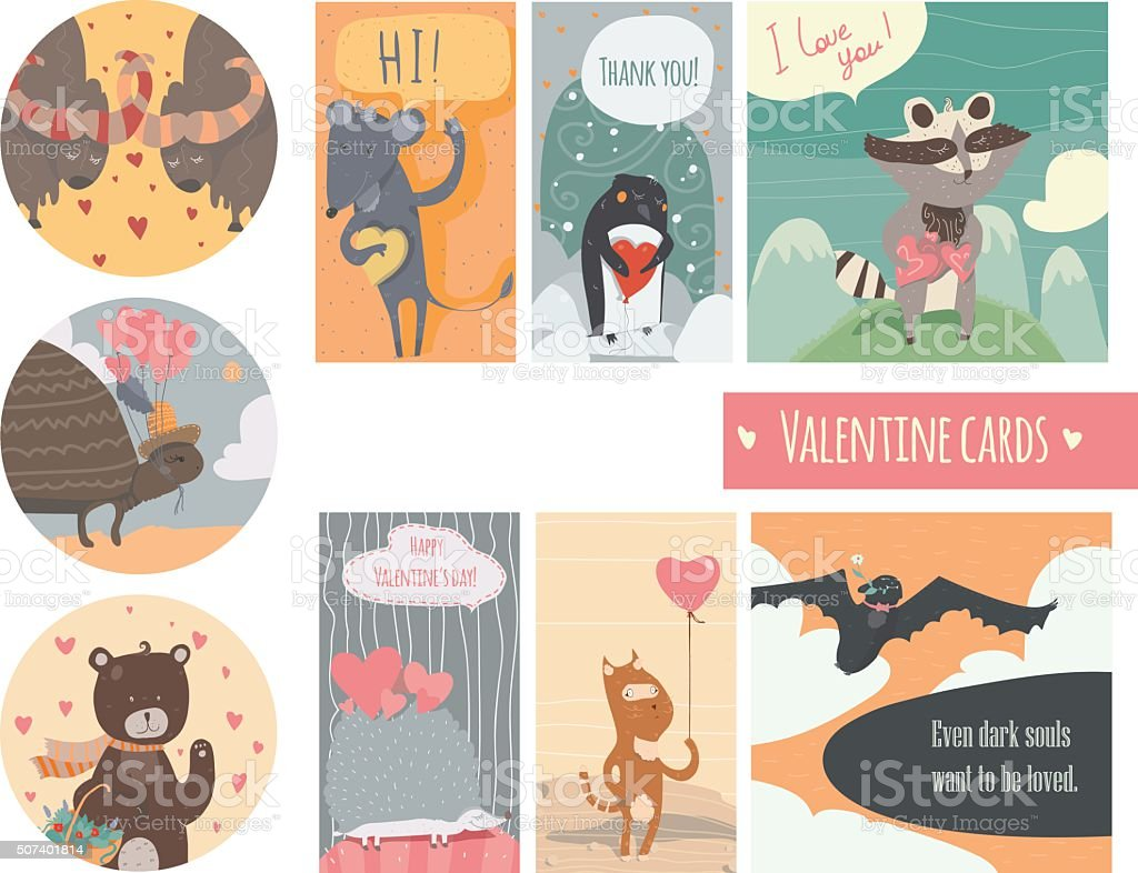 Valentine card set with fun animals with hearts and flowers vector art illustration