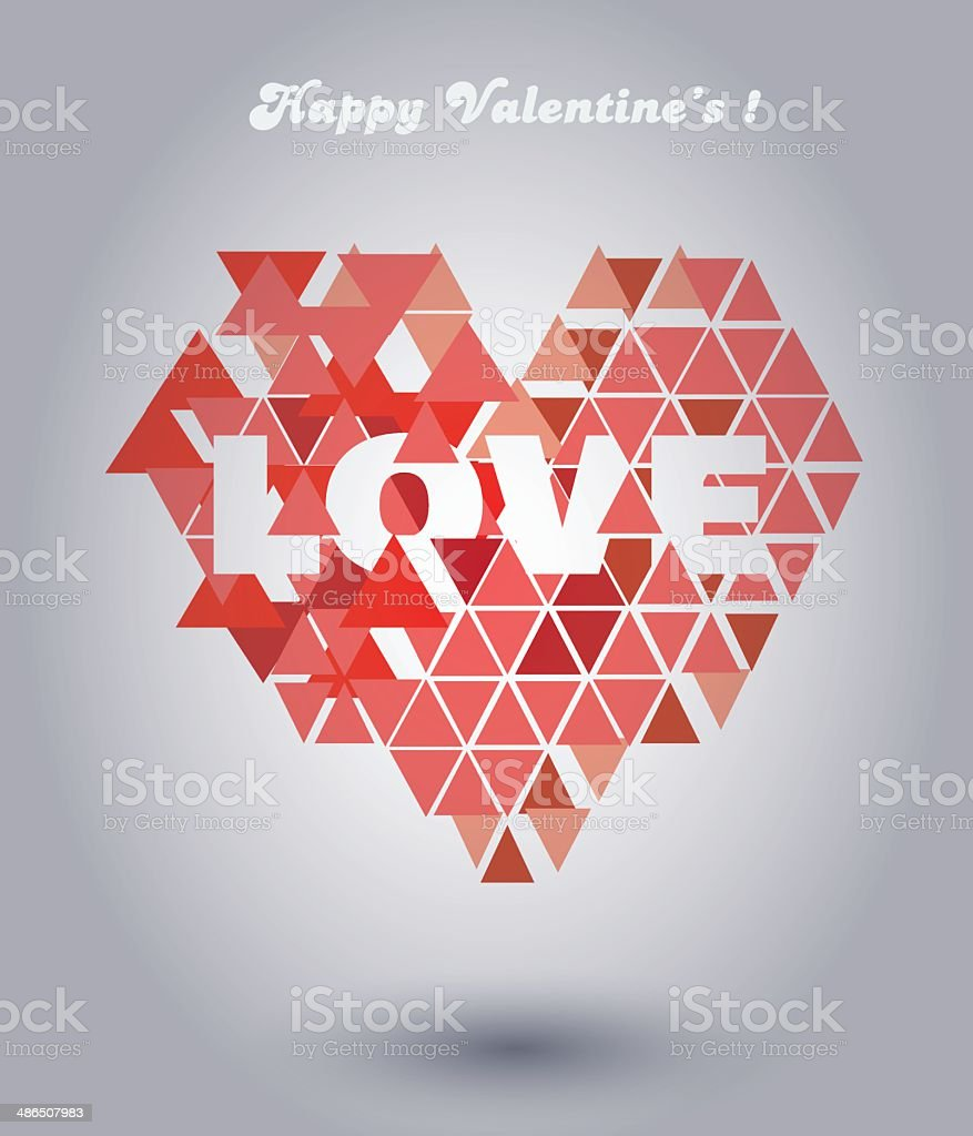 Valentine Card with Heart Made out of TrianglesPrint royalty-free stock vector art