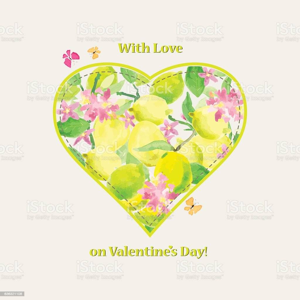 Valentine card with love at Valentine's Day. Heart with lemons watercolor vector art illustration