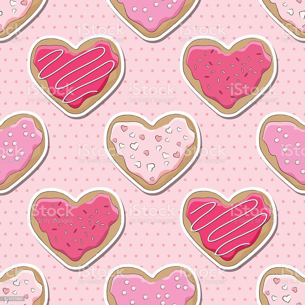 Valentine cookies seamless vector art illustration
