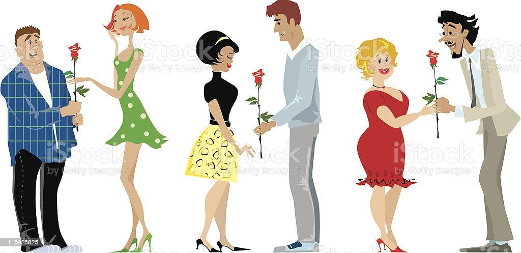 Valentine couples royalty-free stock vector art