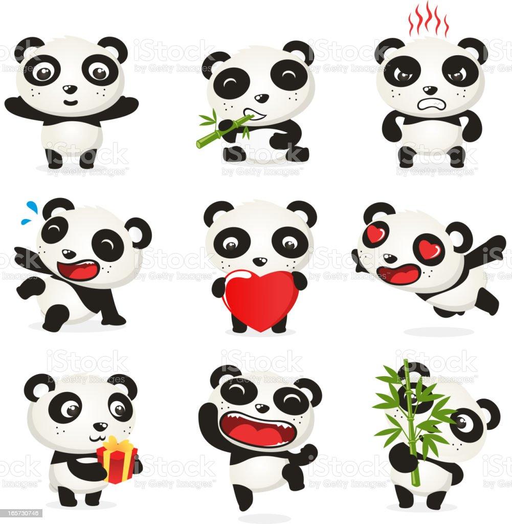 Valentine Cute panda set vector art illustration