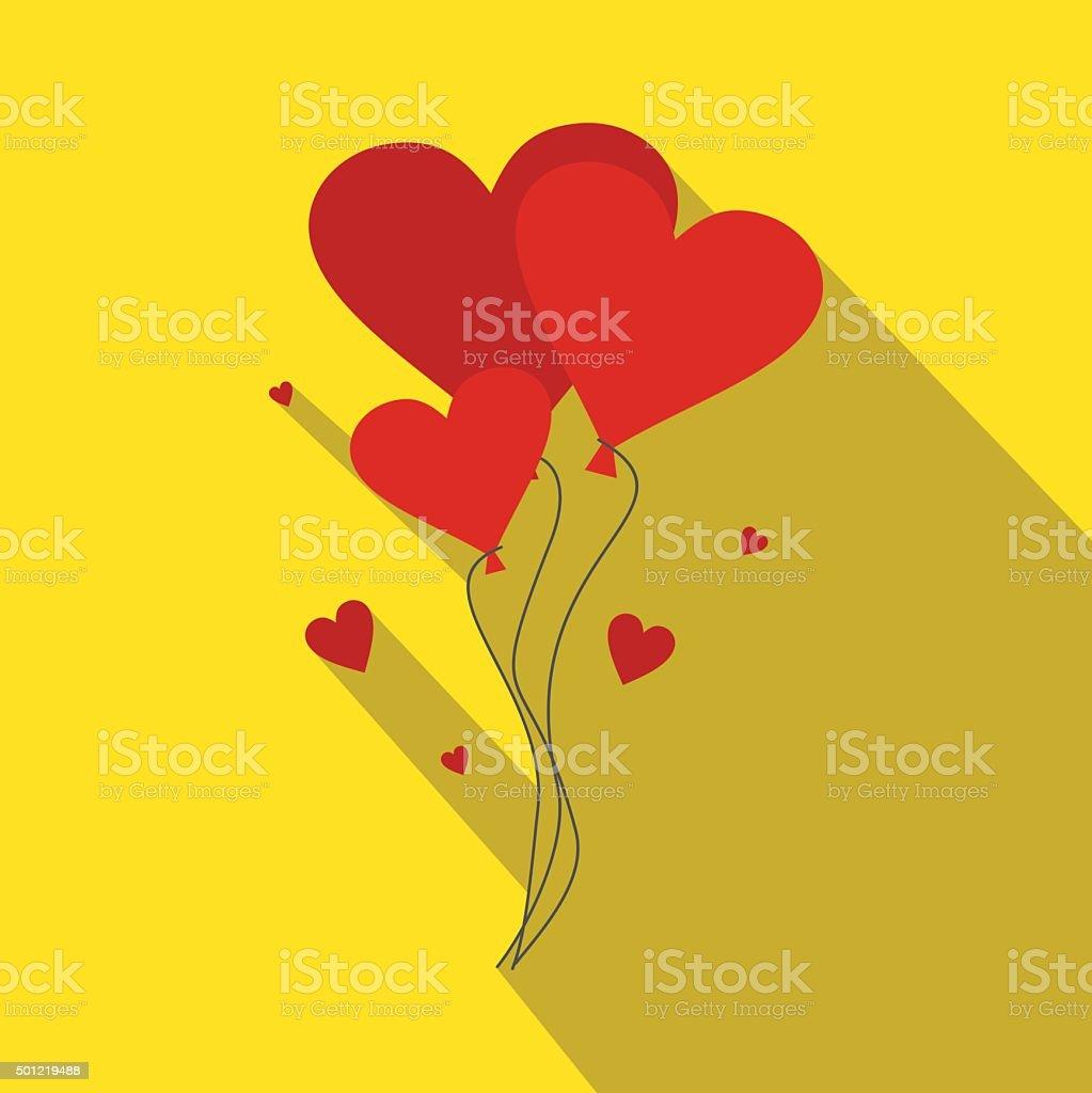 Valentine day balloons flat illustration vector art illustration
