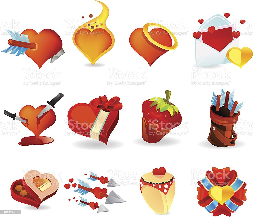 Valentine Day Heart Icons royalty-free stock vector art