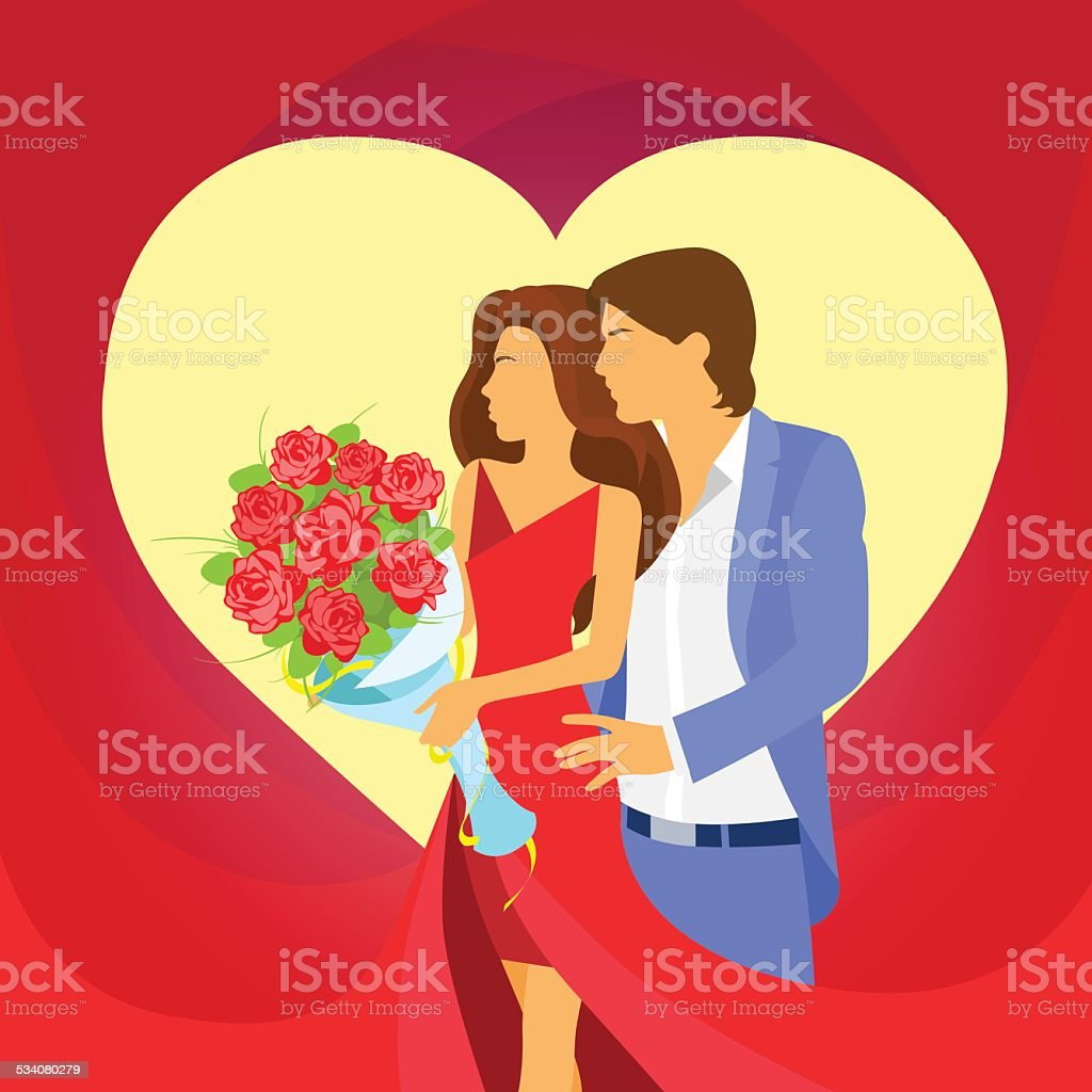 valentine day holiday couple heart shape, Valentine's rose bouquet flowers vector art illustration
