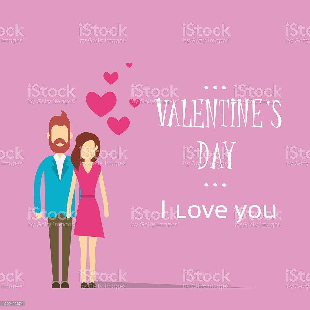 Valentine Day Holiday Silhouette Couple Lovers Embrace Heart Shape vector art illustration