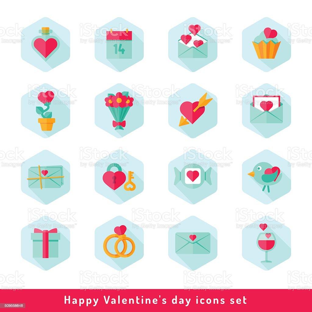 Valentine day icon set in flat vector art illustration