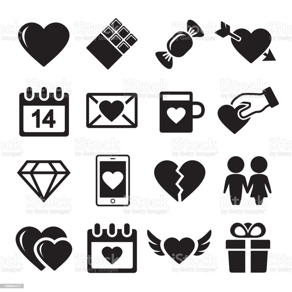 Valentine day love icons set. vector art illustration