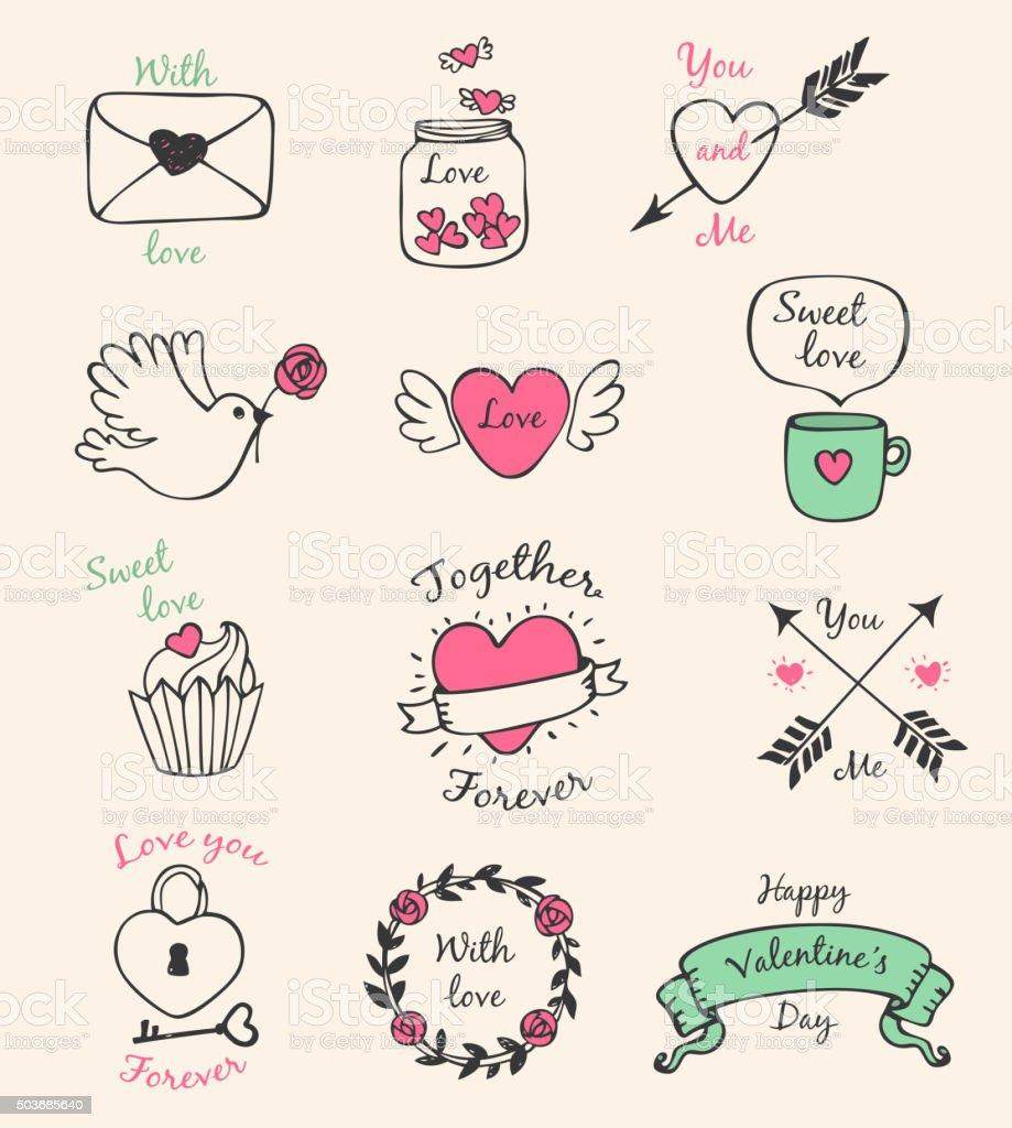 Valentine decorative elements vector art illustration
