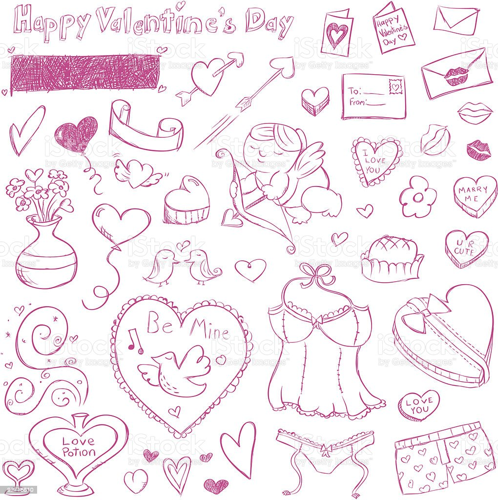 Valentine Doodles vector art illustration