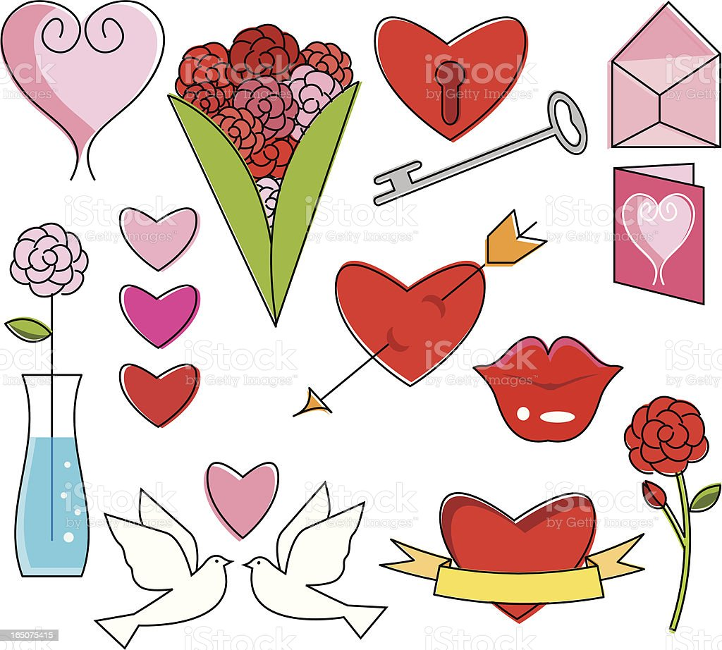 Valentine Essentials vector art illustration