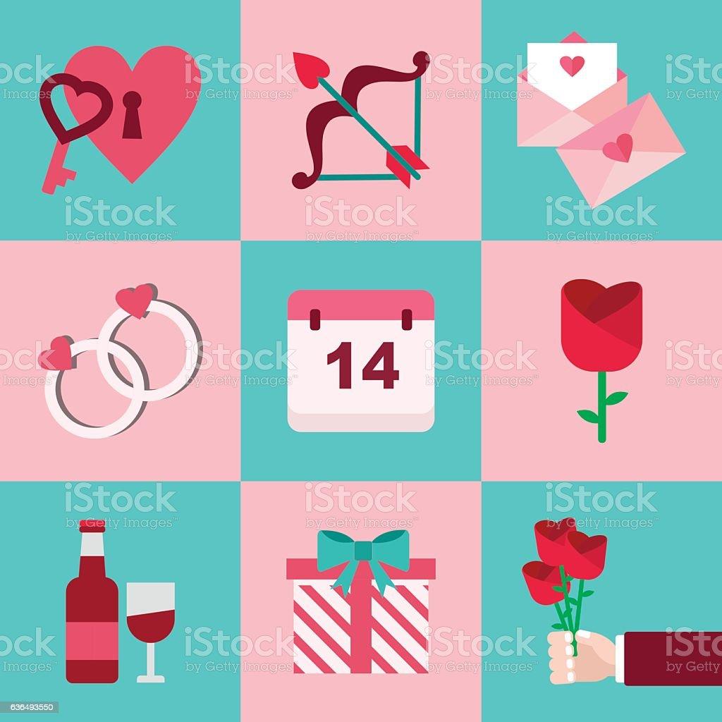 Valentine Flaticon Set vector art illustration