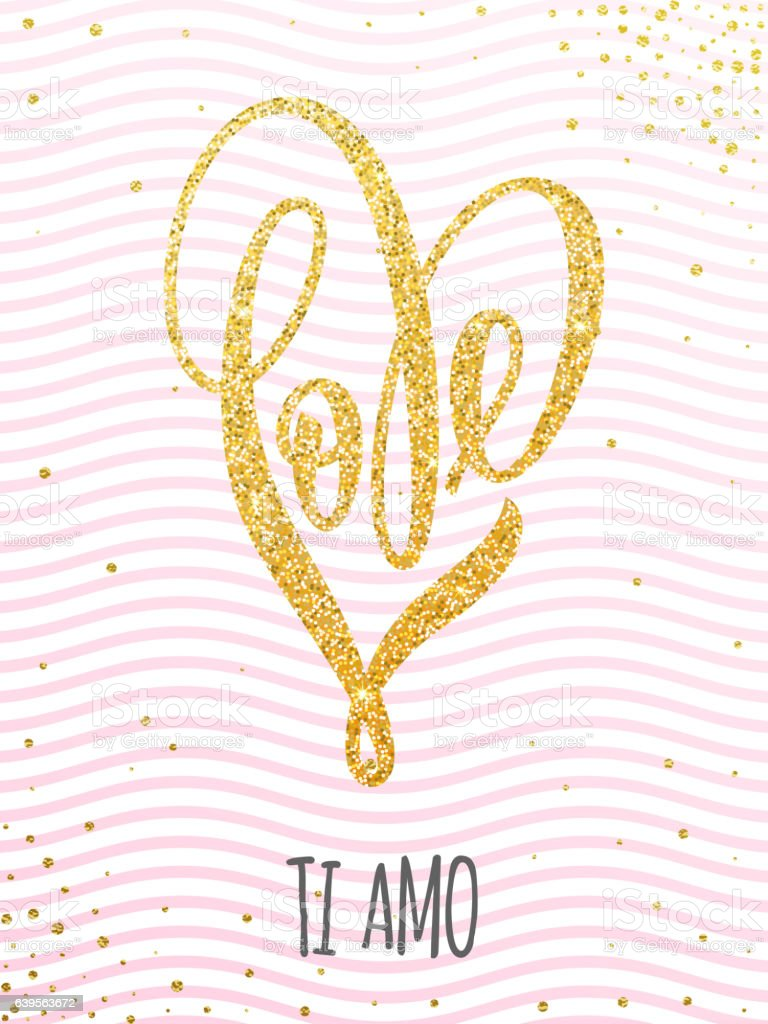 Valentine gold love heart glitter pattern card vector art illustration