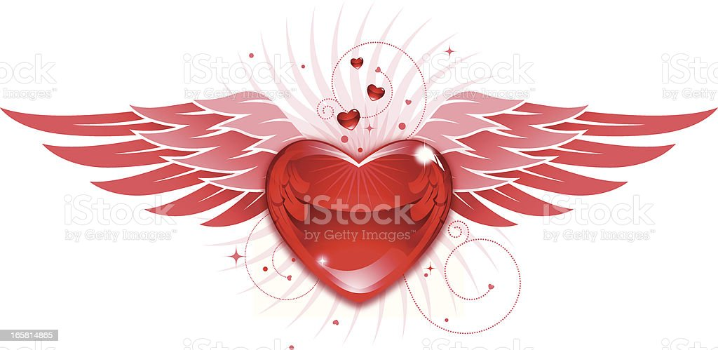 Valentine Heart and Wings royalty-free stock vector art
