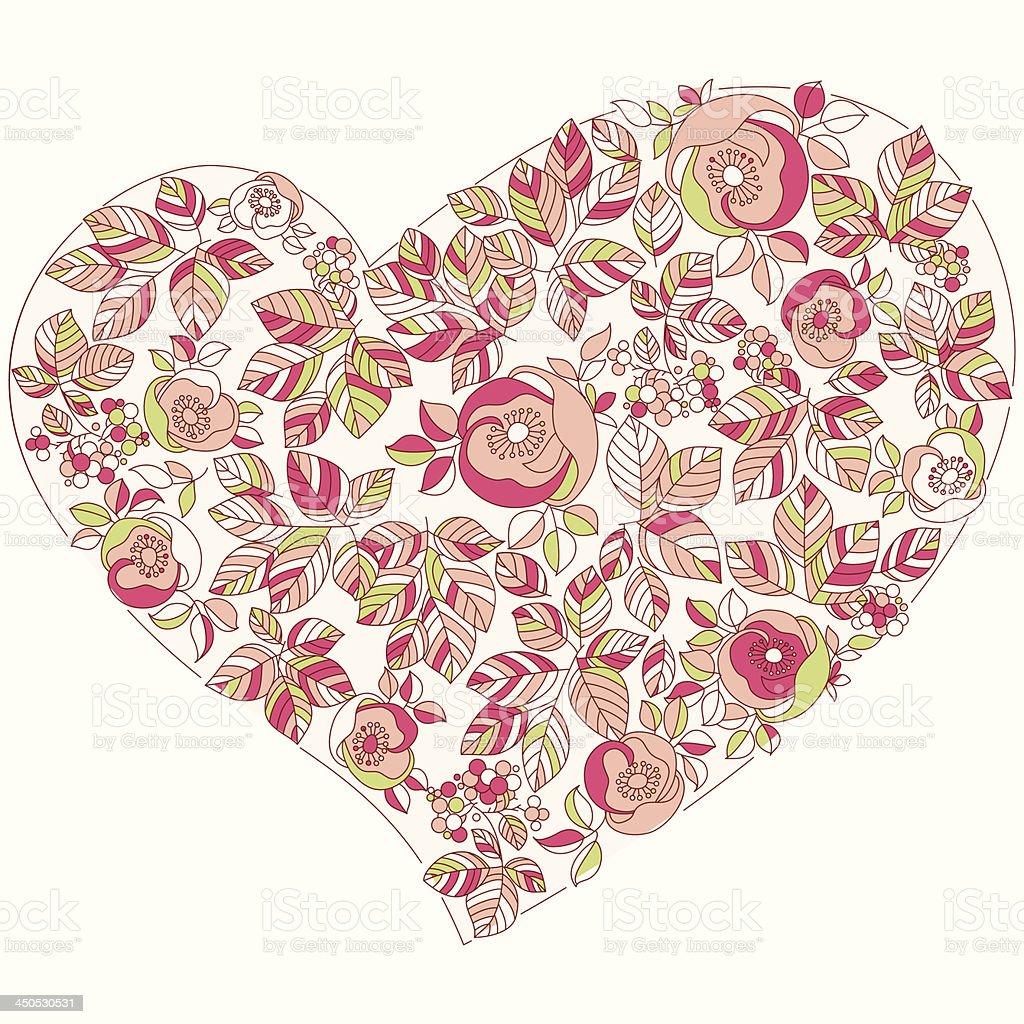 Dia dos Namorados coração floral estilo vetor e ilustração royalty-free royalty-free