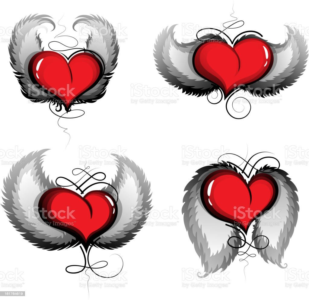 Valentine hearts with wings and vintage pattern royalty-free stock vector art