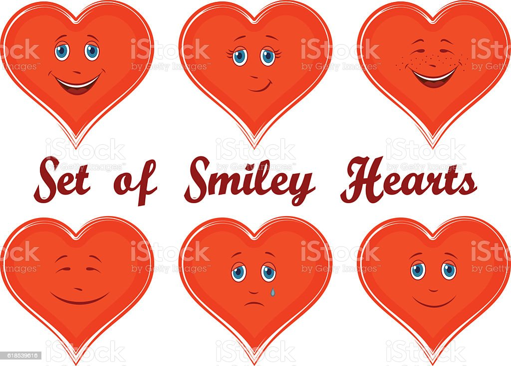 Valentine Holiday Hearts with Faces vector art illustration