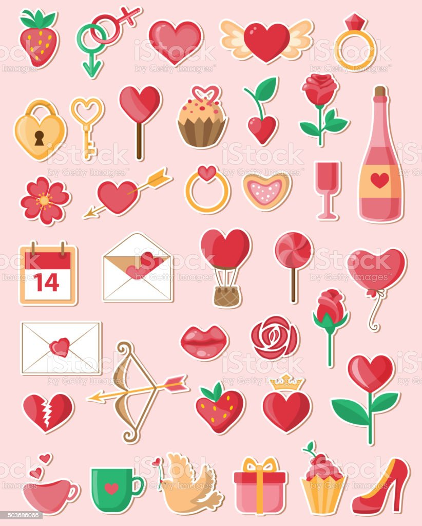 Valentine icons in a flat style vector art illustration