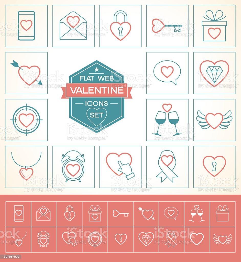 Valentine icons set . vector art illustration
