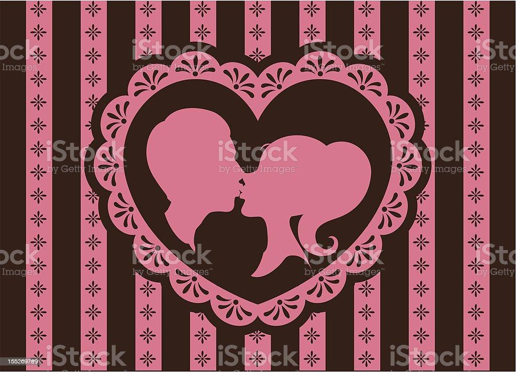 Valentine kiss vector art illustration